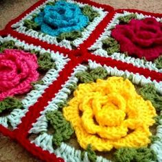 Crochet Granny Square Patterns Rose Flower Granny Square Free Crochet Pattern - You will love this Rose Granny Square Tutorial and it's just one of a number of gorgeous ideas that we know you will be keen to try. Granny Square Crochet Pattern, Crochet Flower Patterns, Crochet Squares, Crochet Blanket Patterns, Crochet Granny, Crochet Motif, Crochet Flowers, Crochet Stitches, Crochet Daisy