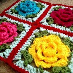 Rose Flower Granny Square Free Crochet Pattern