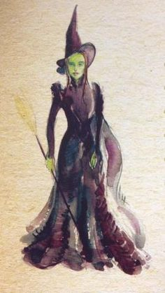 """2/5/13 Susan Hilferty's original sketch of Elphaba's costume. Susan Hilferty, the costume designer for Wicked, Spring Awakening, the revival of Into the Woods and many more is a Tony Award-winning costume designer. Her watercolor rendering shows the essence of who Elphaba is. From the hat to the broom, Hilferty captured every detail. The watercolor gives the illusion that Elphaba is """"gliding"""" along in her dress. She is obviously evil but fierce. The use of purples and blues were a great…"""