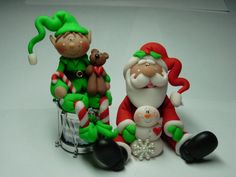 Santa Christmas polymer clay crafts for decoration,handmade baking craft Polymer Clay Figures, Cute Polymer Clay, Polymer Clay Dolls, Polymer Clay Projects, Polymer Clay Creations, Christmas Cake Topper, Polymer Clay Christmas, Play Clay, Clay Baby