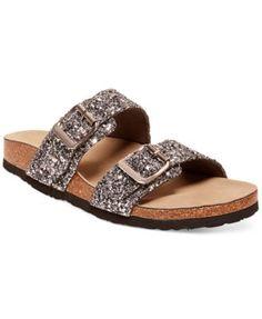 Madden Girl Brando Glitter Footbed Sandals synthetic silver sz7 black sz7.5 1h 49.00 30%off thru 10/24 (34.30)