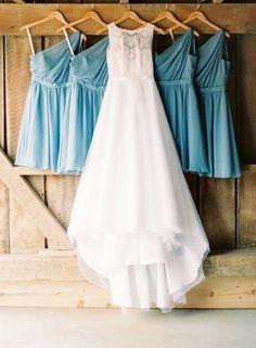 Bride's wedding dress + bridesmaid dresses wedding day photo idea {Michelle Lea Photographie}