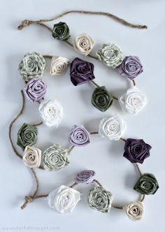 DIY Fabric Flower Garland - A Wonderful Thought Flower Garland Wedding, Floral Garland, Flower Garlands, Paper Garlands, Easy Fabric Flowers, Fake Flowers, Diy Flowers, Handmade Flowers, Flower Pots