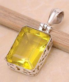"Lemon Quartz .925 Sterling Silver Jewelry Pendant 1.4"" #silverjewelry #SterlingSilverJewellery"