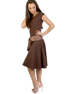 Modest drop waist dress by Molly's Clothing.