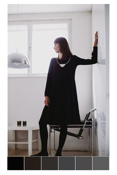 POKOJÍK / Hani wears black dress by About and necklace by Antonie Lecher. Hani, Wearing Black, Editorial, Normcore, School, How To Wear, Dresses, Style, Fashion