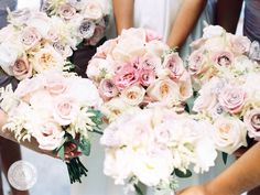 www.anneandersonevents.com Soft hued flowers for elegant and delicate wedding bouquets. #anneandersonevents #wedding #weddingbouquets #weddingdetails #weddingplanner #weddingplanning #luxuryweddings #weddingdecor  #miamiweddings #muskokaweddings #torontoweddings
