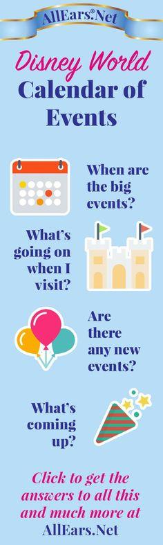 Walt Disney World Calendar of Events - AllEars. Disney World Calendar, Disney World 2017, Disney World Florida, Walt Disney World Vacations, Disney Resorts, Disney World Tips And Tricks, Disney Tips, Disney Fun, Disney Travel