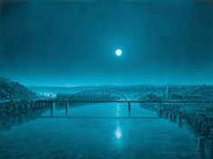 Paul McMillan    I can feel this moonlit night!  The monochromatic teal is magical~