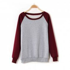 $10.78 Casual Scoop Neck Long Sleeves Color Match All-Match Cotton Blend Hoodie For Women