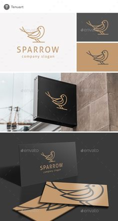 Buy Sparrow Logo by Tenuart on GraphicRiver. Logo Template Features A modern and simple logo CMYK Editable and resizable vector files Editable text and color Incl. Logo Design Template, Logo Templates, Cheap Logo, Bird Logos, Print Fonts, Best Logo Design, Notebook Design, Free Logo, Animal Logo