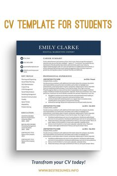Get a standout clean CV ready in minutes! Stop wasting your time on creating CV formatting and CV layout. This student CV is a fully customisable CV template and easy to edit. You also get matching cover letter and references pages. Unlimited support comes with the CV. Cv Template Student, Business Resume Template, Modern Resume Template, Teacher Resume Template, Executive Resume Template, Microsoft Word Resume Template, Creative Resume Templates, Marketing Resume, Digital Marketing