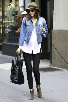 Miranda Kerr looks chic in a widebrim hat and Isabel Marant booties
