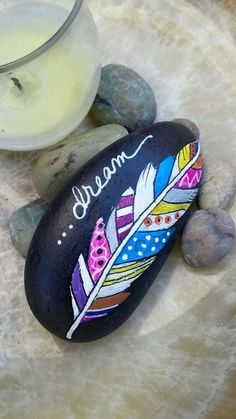 DREAM Painted BOHO FEATHER Beach Stone