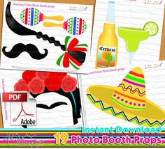 Mexican Fiesta photo booth props Mexican fiesta birthday