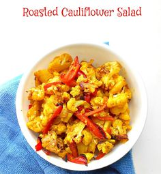 Roasted Cauliflower Salad - Quick snack or quick side dish for dinner. Works as a quick lunch. vegetarian and vegan diet. Turmeric makes this recipe