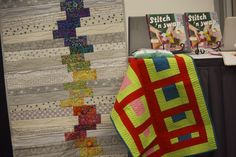 """Improv runner quilt. The quilt I made for the new Generation Q book """"Stitch 'N Swap"""" on the podium for their Schoolhouse presentation at Market"""