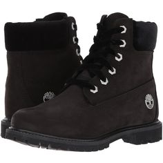 Timberland 6 Premium Leather and Fabric Waterproof Boot (Black... (957270 PYG) ❤ liked on Polyvore featuring shoes, boots, ankle boots, short leather boots, lace up ankle boots, short black boots, leather boots and lace-up bootie
