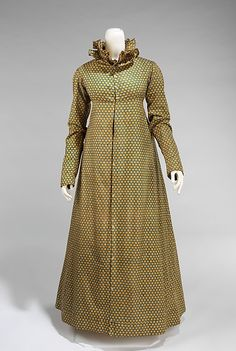 Printed cotton pelisse, American, ca. 1815. This dress presents a lively and engaging textile with its overall small prints. This style of print was in high demand in the teens and although it could have been made in New England by this time, it was probably imported from England, which shipped large quantities throughout the period.