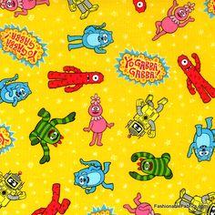 Fabric... Yo Gabba Gabba Character Toss on Yellow by Hoffman Fabrics