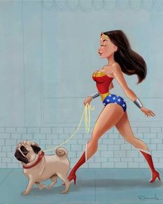Wonder Woman walking a pug...