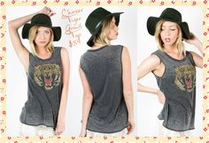 Chaser Tiger Growl Top: Chaser's extremely comfy Tiger Growl Vintage Jersey tank is for the fierce and stylish only ;) 50% cotton, 50% polyester •	Round neckline •	Burn out •	Lightweight •	Fits true to size Available size XS-L #Chaser #Tigergrowl #Tigertank