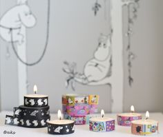 Decorate teacandles with washi tape. Simple and beautiful. Tape from Showroom Finland and Gakken. Wallpaper from Sandudd. Masking Tape, Washi Tape, Moomin Valley, Tove Jansson, Bed Room, Birthday Candles, Craft Projects, Wedding Decorations, Bedroom Decor