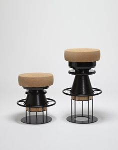 Tembo is a stool made of stacked pieces of wood, metal, and cork by La Chance and Note Design Studio. Note Design Studio, Notes Design, High Stool, Low Stool, Cool Furniture, Modern Furniture, Furniture Design, Unusual Furniture, Black Stool
