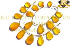 Yellow Chalcedony Smooth Pear (Quality AAA) Shape: Pear Smooth Length: 18 cm Weight Approx: 29 to 31 Grms. Size Approx: 14x19 to 15x27 mm Price $27.30 Each Strand