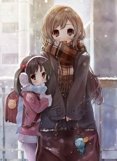 .anime lady and child