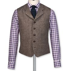 Taupe tweed tailored fit vest | Suit vests from Charles Tyrwhitt | CTShirts.com