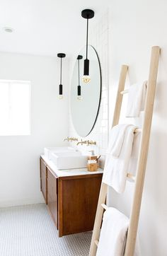 bathroom re-fresh DIY towel ladder // sarah sherman samuel