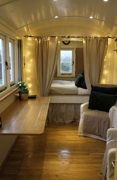 Love white lights in tiny spaces. COZY. Use in all our year-round decorating.