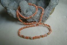 Vintage Angel Skin Pink Coral Necklace with 14K by MoonGirlSquared