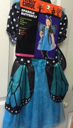 Girls Butterfly Costume Youth Size Medium With Wings Turquoise Renaissance #TotallyGhoul #CompleteOutfit