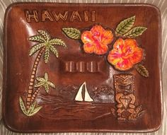 Tiki Treasure Craft Hawaii Ashtray Maui Vintage Hibiscus Palm Trees Dish Ceramic