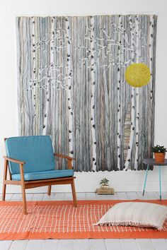 Anna Emilia Wooden Fence Wall Mural. I'm liking the idea of birch trees for a wall mural.