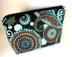 French Blues Cosmetic Bag Large Padded Flat bottom Zipper Pouch by JPATPURSES, $16.00
