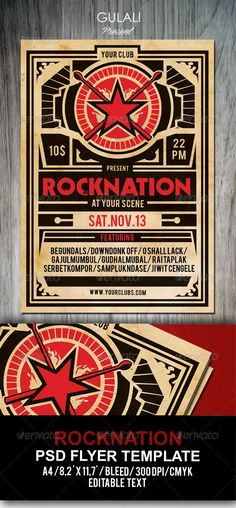 "Rock Poster Flyer Template #GraphicRiver Poster or Flyer music promo for launching bands, event. Gig, Concert, Festival. Help File included. Featured 1 psd File Print Ready 8.5×11"" + Bleed 300 dpi CMYK Well Organized Layers Easy to use Font"
