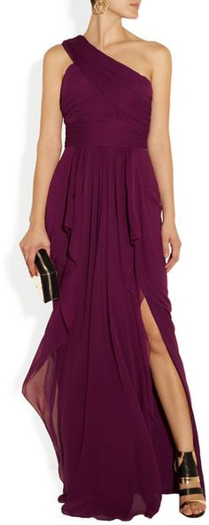 Notte By Marchesa Oneshoulder Draped Silkchiffon and Silk Gown in Purple (raspberry) - Lyst