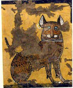 Rara pintura egipcia.  Un gato sentado debajo de una silla - Tempera sobre papel - excavada de la tumba de Ipuy - Años 1295-1213 A.C. - Museo Metropolitano de Arte