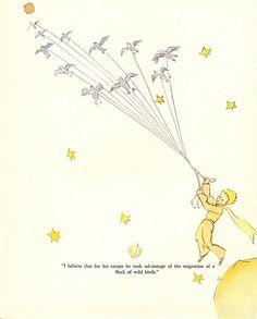 The Little Prince, Antoine de Saint-Exupery, Vintage / Antique Art Print, Classic Book Illustration, Ready to Frame Little Prince Quotes, The Little Prince, Flock Of Birds, Wild Birds, Recuerdos Primera Comunion Ideas, Rosen Tattoos, Beste Tattoo, Vintage Children's Books, Classic Books