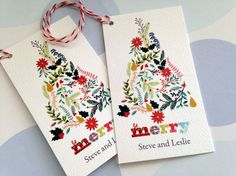 These lovely personalized Christmas gift tags measure 2 x 3.5 inches. They are printed on 100 lb white felt textured card stock and finished off with red and white bakers twine. This listing is for 20 gift tags  Please note in the message to seller box when checking out the name(s) youd like on the card, in exactly the way you'd like it to appear. Ill send you a sample within 48hrs for before I print them. Thanks!  To see more of my holiday items, click on the link below…