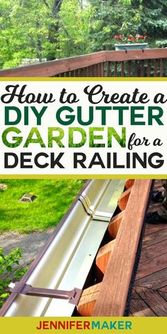 DIY Gutter Garden For a Deck Railing Hang a Rain Gutter Garden on your deck railing! Source by jenuinemom. Pergola Garden, Pergola Swing, Outdoor Pergola, Curved Pergola, Metal Pergola, Garden Planters, Outdoor Spaces, Outdoor Living, Pergola Designs