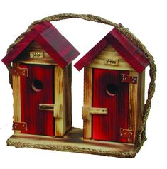 Amish Made His & Hers Outhouse Bird House - Large
