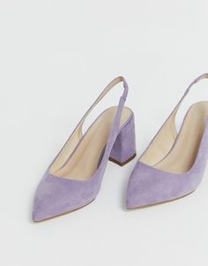 Shop ASOS DESIGN Wide Fit Samson slingback mid heels in lilac. With a variety of delivery, payment and return options available, shopping with ASOS is easy and secure. Shop with ASOS today. Pretty Shoes, Beautiful Shoes, Cute Shoes, Me Too Shoes, Daphne Blake, Lilac Heels, High Heels, Shoes Heels, Mid Heel Shoes