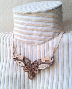 Quilling necklace. Milky coffee paper necklace. Closure free necklace.