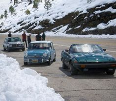 Safety meeting along hwy 88. #snowballrally #bmw #minicooper #triumph #tr8
