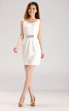 Street Fashion Flouncing Slim Chiffon Dress (With Belt)