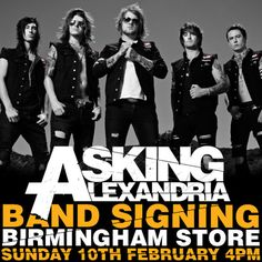 Asking Alexandria will be in our Birmingham store on Sunday 10th February 2013 at 4PM.    This is a lanyard event.    Collect your lanyard from the Birmingham Blue Banana store. Remember to be quick there are only 100 lanyards available and it's a first come first served basis.    If you buy any Ben Bruce Clothing merchandise on the day of the signing you will also receive a personal photo and autograph!    Be sure to upload your pics to Facebook and use the hash tag #AABlueBanana on Twitter